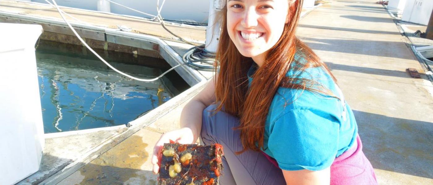 Woman on docks holding tile with marine life
