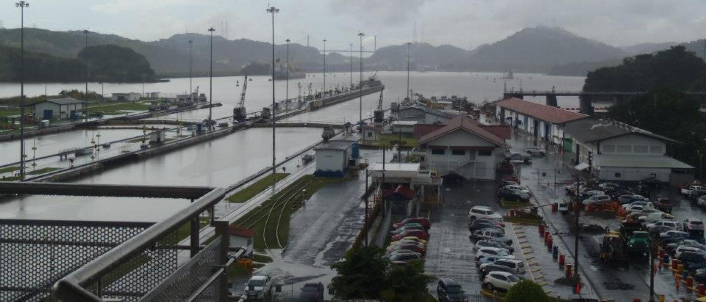 A view of Miraflores Locks in the Panama Canal, looking toward Gatun Lake.
