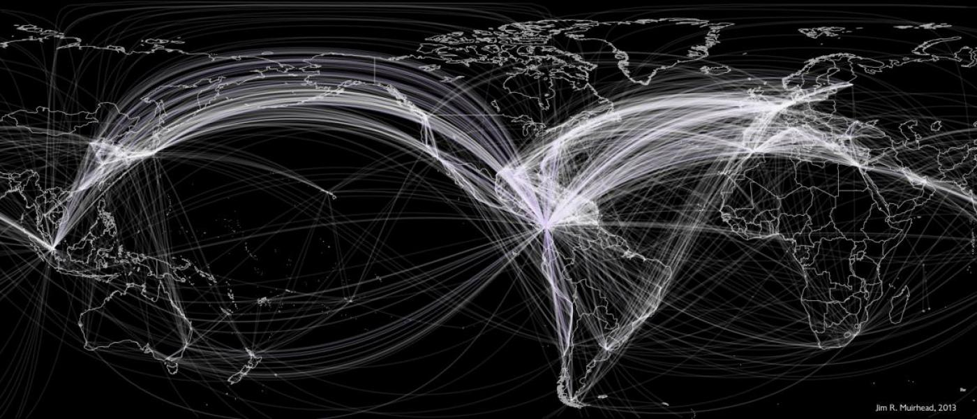 Graphic showing global shipping patterns