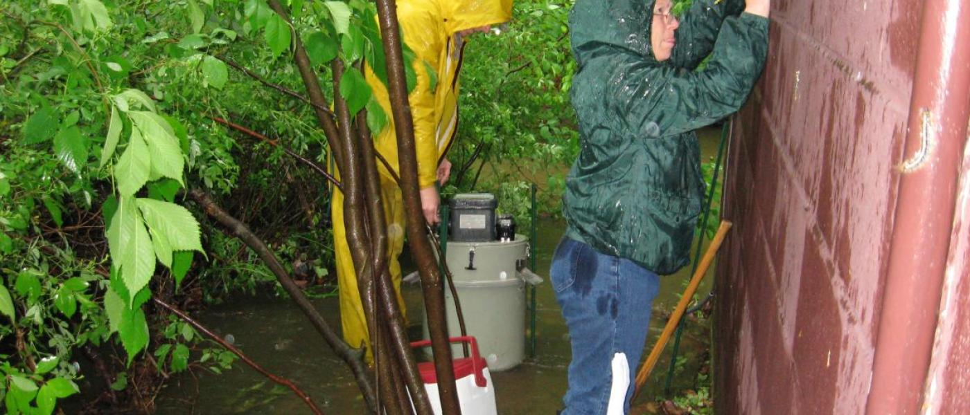 Taking measurement of a SERC stream during a rain event