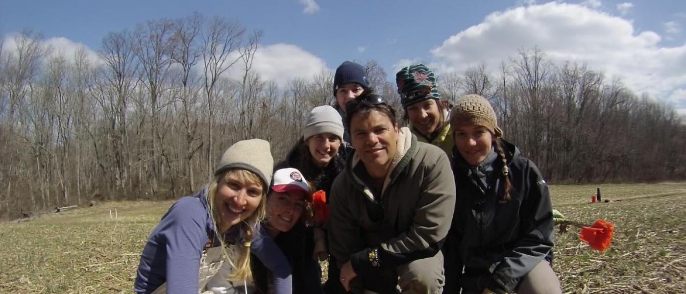 Dr. John Parker poses with Biodiversitree volunteers