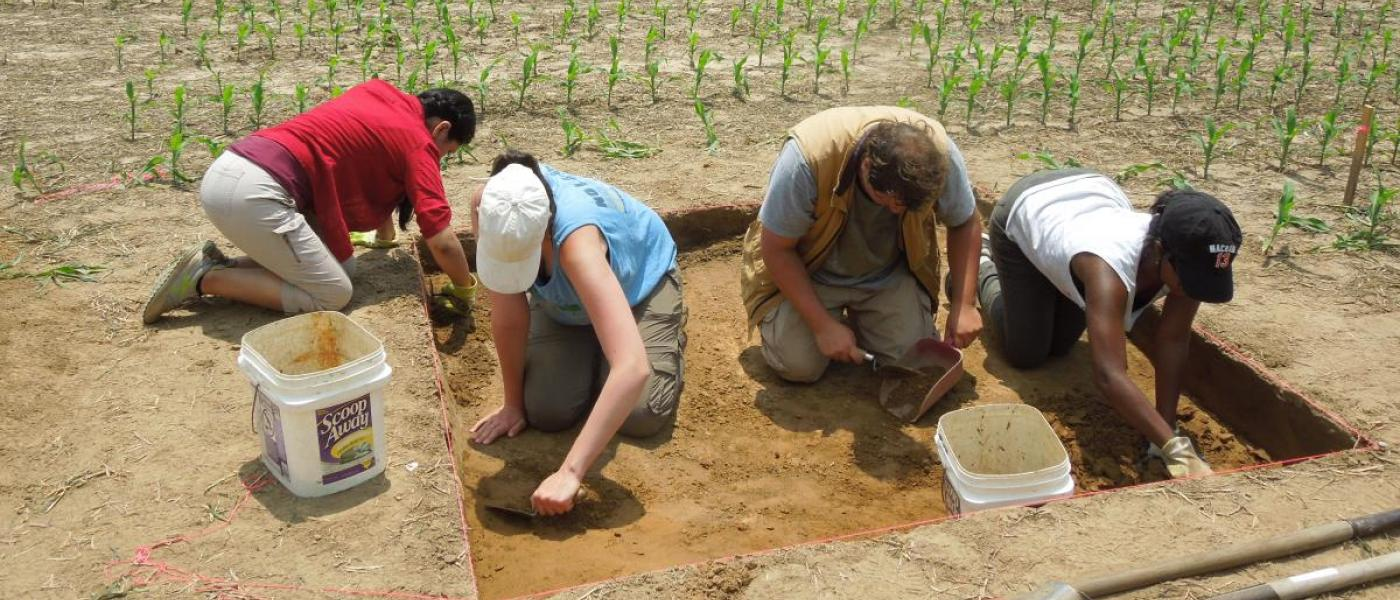 Archaeology citizen scientists dig in agricultural field site