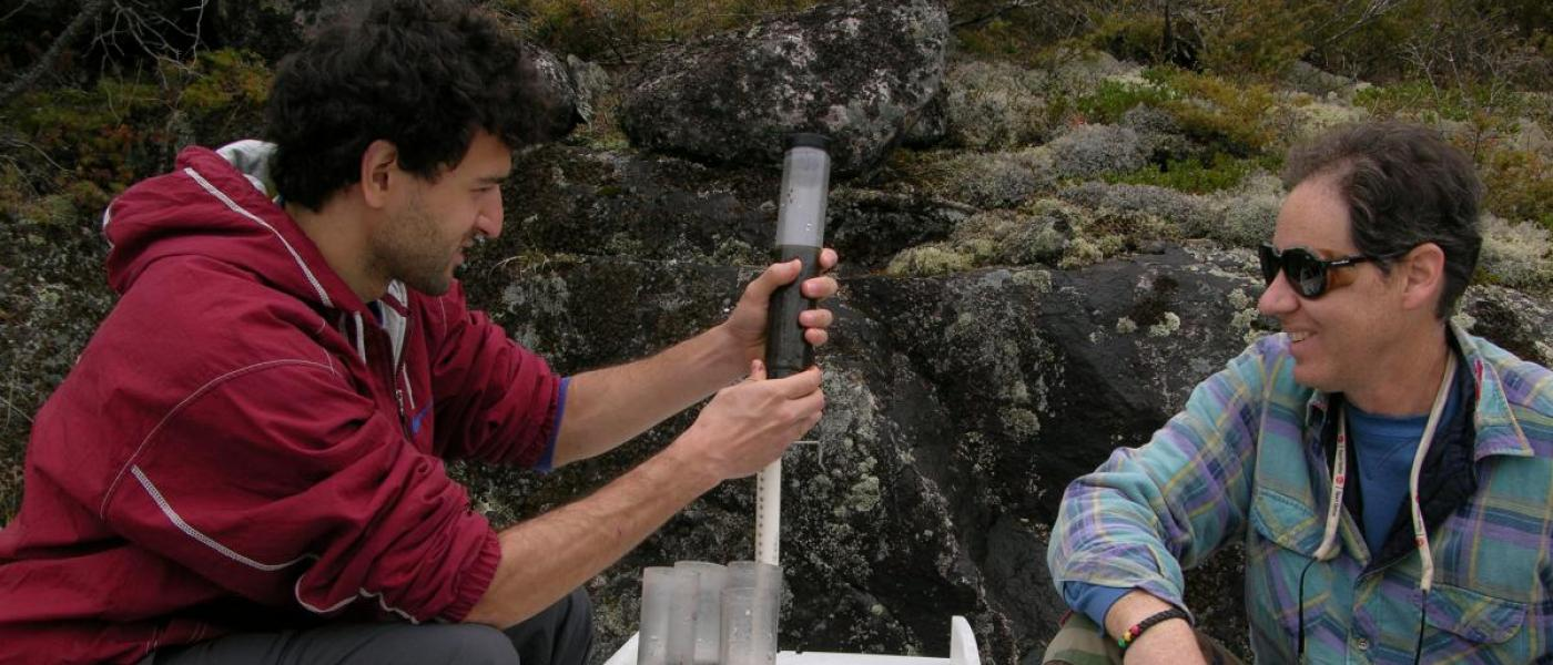 Scientists take soil sample