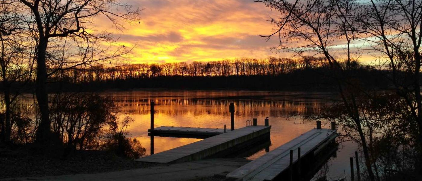 SERC docks at sunrise
