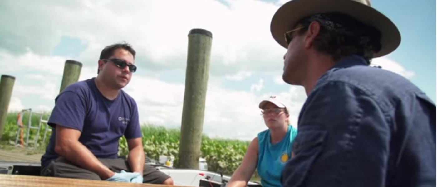 Rob Aguilar and Josh Bernstein on boat