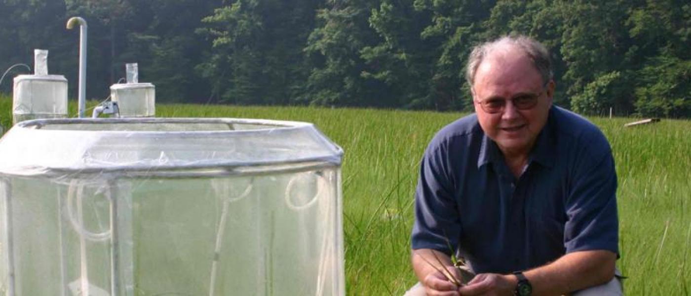 Bert Drake kneeling behind experimental chamber in wetland