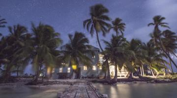 Dusk over the Carrie Bow Cay field station on the Belize Barrier Reef